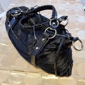 Authentic Francesco Biasia Black Leather Hobo Bag.